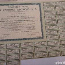Coleccionismo Acciones Españolas: COMPAÑÍA FABRIL DE CARBONES ELÉCTRICOS 1933 EMISIÓN DE 500 OBLIGACIONES. Lote 130584534