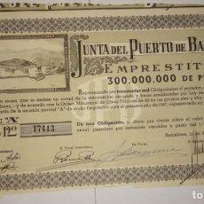 Coleccionismo Acciones Españolas: JUNTA DEL PUERTO DE BARCELONA 1947. Lote 130811004