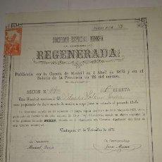 Coleccionismo Acciones Españolas: SOCIEDAD ESPECIAL MINERA REGENERADA 1875. Lote 130878616