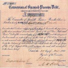 Coleccionismo Acciones Españolas: CONVERSION OF SAPANISH PASSIVE DEBT. - 1868. Lote 131033104