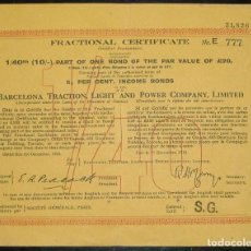 Coleccionismo Acciones Españolas: BARCELONA TRACTION, LIGHT AND POWER COMPANY LIMITED (1918). Lote 131918038