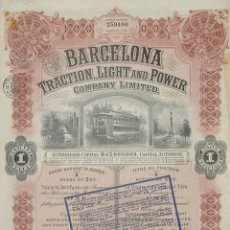 Coleccionismo Acciones Españolas: BARCELONA TRACTION, LIGHT AND POWER COMPANY LIMITED (1929). Lote 131918338