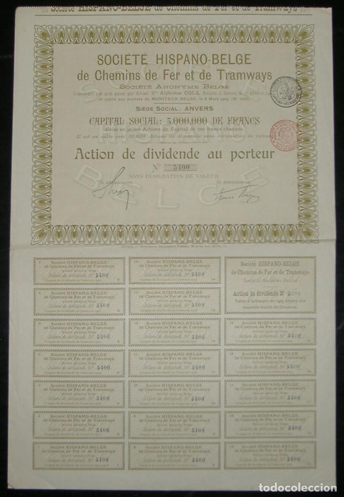 Coleccionismo Acciones Españolas: Sociedad Hispano-Belga de Ferrocarriles y Tranvías - Ferrocarril de Málaga a Torre del Mar (1905) - Foto 2 - 131920070