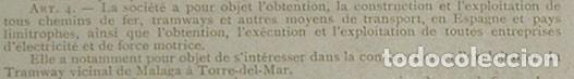 Coleccionismo Acciones Españolas: Sociedad Hispano-Belga de Ferrocarriles y Tranvías - Ferrocarril de Málaga a Torre del Mar (1905) - Foto 3 - 131920070