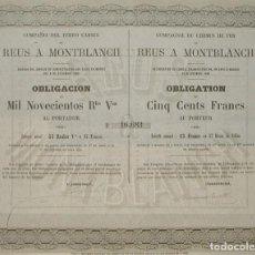 Coleccionismo Acciones Españolas: COMPAÑÍA DEL FERROCARRIL DE REUS A MONTBLANCH, TARRAGONA (1859). Lote 131920366
