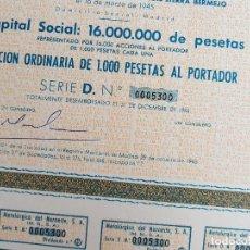 Coleccionismo Acciones Españolas: ACCIÓN METALÚRGICA DEL NOROESTE SA MADRID 1965. Lote 132320022
