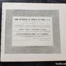 Coleccionismo Acciones Españolas: ANTIGUA ACCIÓN UNIÓN METALÚRGICA DEL NORDESTE DE ESPAÑA SA UMENESA BARCELONA 1965. Lote 132320782