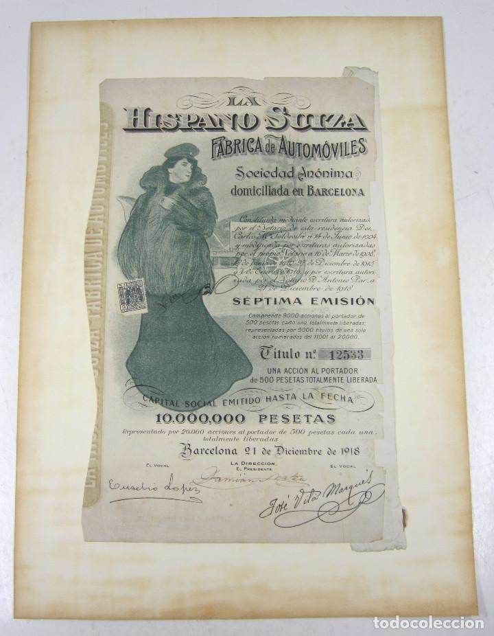 HISPANO SUIZA FÁBRICA DE AUTOMÓVILES SEXTA EMISIÓN ENERO 1916, EN BUEN ESTADO (Coleccionismo - Acciones Españolas)