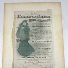 Coleccionismo Acciones Españolas: HISPANO SUIZA FÁBRICA DE AUTOMÓVILES SEXTA EMISIÓN ENERO 1916, EN BUEN ESTADO. Lote 132560270