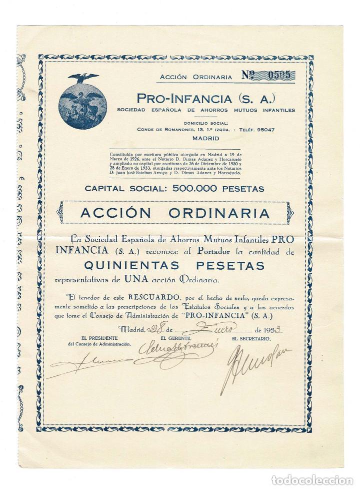 MADRID 1933 RARA ACCIÓN SOCIEDAD ESPAÑOLA DE AHORROS MUTUOS INFANTILES (Coleccionismo - Acciones Españolas)