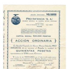 Coleccionismo Acciones Españolas: MADRID 1933 RARA ACCIÓN SOCIEDAD ESPAÑOLA DE AHORROS MUTUOS INFANTILES. Lote 132950590