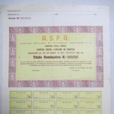 Coleccionismo Acciones Españolas: ACCIONES AUXILIAR SEVILLANA DE PANADERIAS AGRUPADAS, S. A. 1958 A. S. P. A. 1000 PESETAS.. Lote 133282582