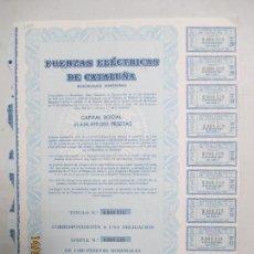 Coleccionismo Acciones Españolas: ACCIONES COMPAÑÍA FUERZAS ELÉCTRICAS DE CATALUÑA. 1.000 PESETAS NOMINALES. BARCELONA 1978. Lote 133283782