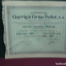 Coleccionismo Acciones Españolas: ACCION COMERCIAL GARRIGA GRAU SOLER, S.A. 1 ENERO 1925 . 12OO ACCIONES 500 PTAS. CADA UNA.. Lote 133292174