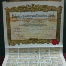 Coleccionismo Acciones Españolas: ACCION COMPAÑIA DE CONSTRUCCIONES HIDRAULICAS Y CIVILES.CON CUPONES. 1934.. Lote 133293410