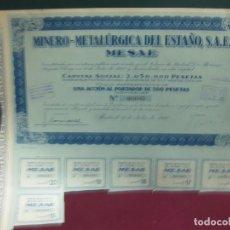 Coleccionismo Acciones Españolas: ACCION MINERO METALURGICA DEL ESTAÑO. MESAE.1940. CON CUPONES.. Lote 133296830