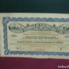 Coleccionismo Acciones Españolas: ACCION COMPAÑIA ESPAÑOLA DE ELECTRICIDAD Y GAS LEBON. 1950.. Lote 133301158