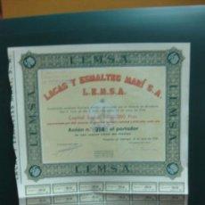 Coleccionismo Acciones Españolas: ACCION LACAS Y ESMALTES MARI. L.E.M.S.A. 1950.. Lote 133313458