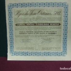Coleccionismo Acciones Españolas: ACCION HIJOS DE JOSE ORTINEZ. S.A. IGUALADA 1947.. Lote 133369914