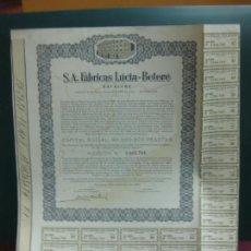 Coleccionismo Acciones Españolas: ACCION S.A. FABRICAS LUCIA - BETERE. SAFALUBE. BARCELONA 1968.. Lote 133378950