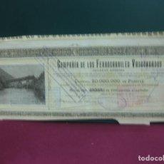 Coleccionismo Acciones Españolas: ACCION COMPAÑIA DE LOS FERROCARRILES VASCONGADOS. 1906.. Lote 133380050