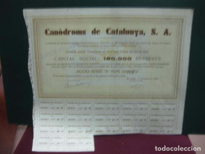 ACCION - ACCIO. CANODROMS DE CATALUNYA, S.A. 1 GENER DE 1934. CON CUPONES. (Coleccionismo - Acciones Españolas)