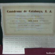 Coleccionismo Acciones Españolas: ACCION - ACCIO. CANODROMS DE CATALUNYA, S.A. 1 GENER DE 1934. CON CUPONES.. Lote 133382430