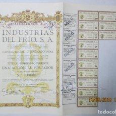 Coleccionismo Acciones Españolas: ACCIONES DE LA INDUSTRIA DEL FRÍO, S. A. BARCELONA 1922. 500 PESETAS NOMINALES.. Lote 133511226