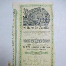 Coleccionismo Acciones Españolas: ACCIONES DE LA SOCIEDAD ANÓNIMA. EL NORTE DE CASTILLA. 2.000 ACCIONES DE 500 PTAS. VALLADOLID 1914. Lote 133511386