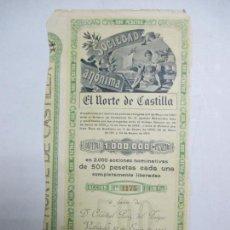 Coleccionismo Acciones Españolas: ACCIONES DE LA SOCIEDAD ANÓNIMA. EL NORTE DE CASTILLA. 2.000 ACCIONES DE 500 PTAS. VALLADOLID 1914. Lote 133511398