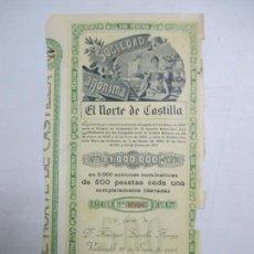 Coleccionismo Acciones Españolas: ACCIONES DE LA SOCIEDAD ANÓNIMA. EL NORTE DE CASTILLA. 2.000 ACCIONES DE 500 PTAS. VALLADOLID 1914. Lote 133511406