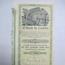 Coleccionismo Acciones Españolas: ACCIONES DE LA SOCIEDAD ANÓNIMA. EL NORTE DE CASTILLA. 2.000 ACCIONES DE 500 PTAS. VALLADOLID 1914. Lote 133511442