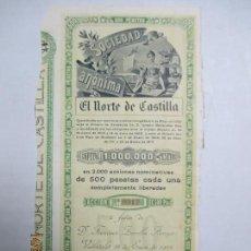 Coleccionismo Acciones Españolas: ACCIONES DE LA SOCIEDAD ANÓNIMA. EL NORTE DE CASTILLA. 2.000 ACCIONES DE 500 PTAS. VALLADOLID 1914. Lote 133511518