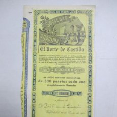 Coleccionismo Acciones Españolas: ACCIONES DE LA SOCIEDAD ANÓNIMA. EL NORTE DE CASTILLA. 6.000 ACCIONES DE 500 PTAS. VALLADOLID 1941. Lote 133511962