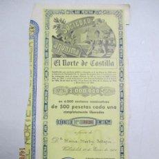 Coleccionismo Acciones Españolas: ACCIONES DE LA SOCIEDAD ANÓNIMA. EL NORTE DE CASTILLA. 6.000 ACCIONES DE 500 PTAS. VALLADOLID 1941. Lote 133512010
