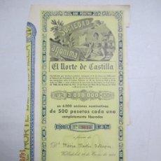 Coleccionismo Acciones Españolas: ACCIONES DE LA SOCIEDAD ANÓNIMA. EL NORTE DE CASTILLA. 6.000 ACCIONES DE 500 PTAS. VALLADOLID 1941. Lote 133512018