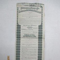 Coleccionismo Acciones Españolas: ACCIONES DE LA COMPAÑÍA FRANCO - ESPAÑOLA DEL FERROCARRIL DE TANGER A FEZ. MARRUECOS. 1946. Lote 133512258