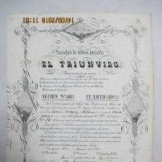 Coleccionismo Acciones Españolas: ACCIONES DE LA SOCIEDAD DE MINAS TITULADA EL TRIUNVIRO. ACCIÓN Nº 56 CUARTO 2º. CARTAGENA 1857. Lote 133512386