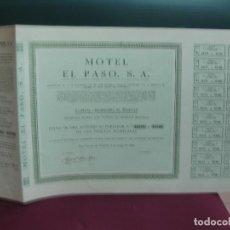 Coleccionismo Acciones Españolas: ACCION. MOTEL EL PASO, S.A.. CON CUPONES. SAN VICENTE DE MONTALT, 4 DE MAYO 1966. Lote 133565566