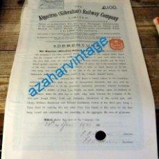 Coleccionismo Acciones Españolas: 1900, GIBRALTAR-ALGECIRAS. RARA ACCION DE FERROCARRILES.. Lote 133793678