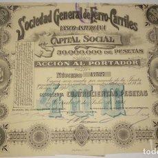 Coleccionismo Acciones Españolas: SOCIEDAD GENERAL DE FERRO-CARRILES VASCO ASTURIANA 1941. Lote 134318286