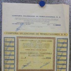 Coleccionismo Acciones Españolas: ACCIONES, COMPAÑIA VALENCIANA DE REMOLCADORES, VALENCIA - AÑO 1967. Lote 135681491