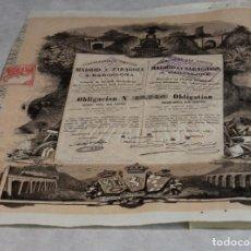 Coleccionismo Acciones Españolas: OBLIGACIÓN NUMERADA DE LOS FERROCARRILES DIRECTOS MADRID Y ZARAGOZA A BARCELONA,1883.. Lote 135952082