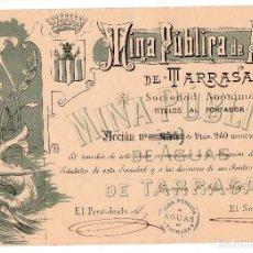 Coleccionismo Acciones Españolas: ACCIÓN MODERNISTA DE MINA PÚBLICA DE AGUAS DE TERRASSA AÑO 1896 -. Lote 136011774