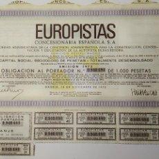 Coleccionismo Acciones Españolas: ACCION. EUROPISTAS, CONCESIONARIA ESPAÑOLA, S.A. AÑO 1972.. Lote 136087746