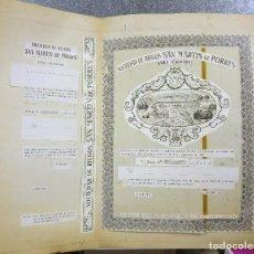 Coleccionismo Acciones Españolas: SOCIEDAD DE RIEGOS SAN MARTIN DE PORRES, ONDA, CASTELLON - 1963 - ACCION ORIGINAL PRUEBA DE IMPRENTA. Lote 136416890