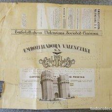 Coleccionismo Acciones Españolas: EMBOTELLADORA VALENCIANA S.A. - ORIGINAL PRUEBA DE IMPRENTA - AÑO 1958. Lote 136418306