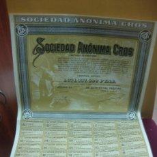 Coleccionismo Acciones Españolas: ACCION SOCIEDAD ANONIMA CROS CON CUPONES. BARCELONA 1962.. Lote 136472666