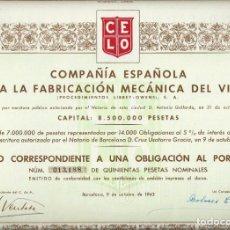 Collectionnisme Actions Espagne: COMPAÑÍA ESPAÑOLA PARA LA FABRICACIÓN MECÁNICA DEL VIDRIO. Lote 136813126