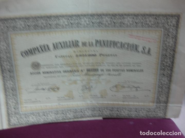 ACCION NOMINATIVA COMPAÑIA AUXILIAR DE LA PANIFICACION S.A. BARCELONBA AGOSTO 1945 (Coleccionismo - Acciones Españolas)